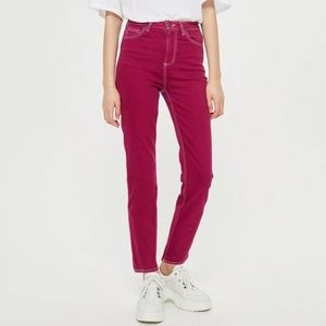 TOPSHOP Magenta Straight Leg Cassis Ankle Jeans